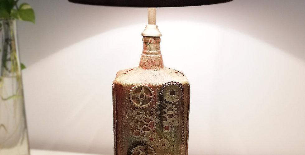 Rust Gears Glass Bottle Lamp