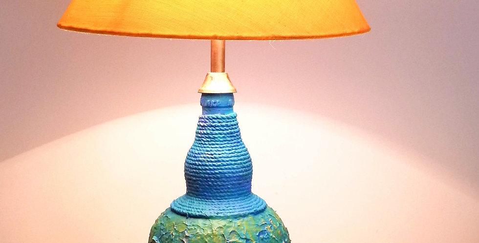 Blue, textured Glass Bottle Lamp