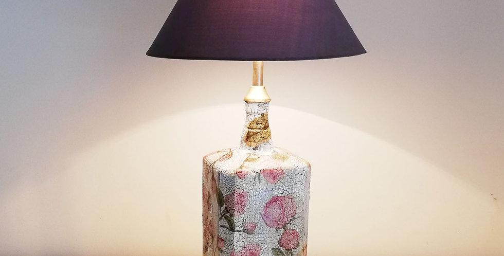 English Rose Glass Bottle Lamp