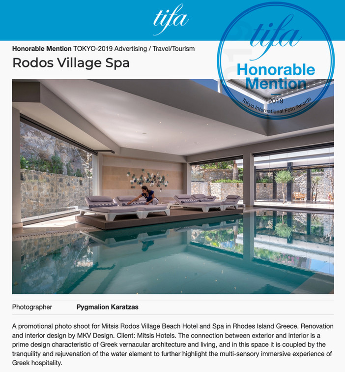 Honorable Mention for 'Rodos Village Spa' at TIFA 2019