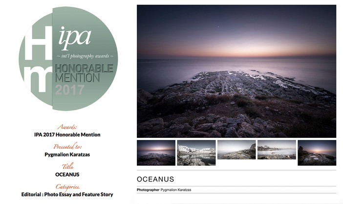 'Oceanus' series receives honorable mention at the IPA 2017 awards