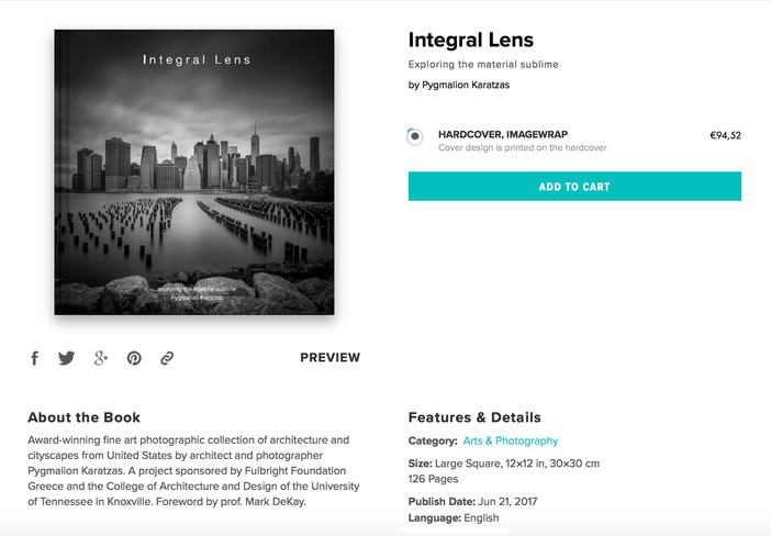 'Integral Lens' book print copies on blurb.com with 40% discount through June 26