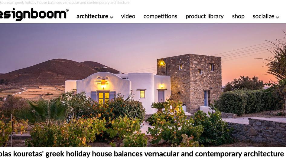 Holiday house in Paros published on Designboom.com