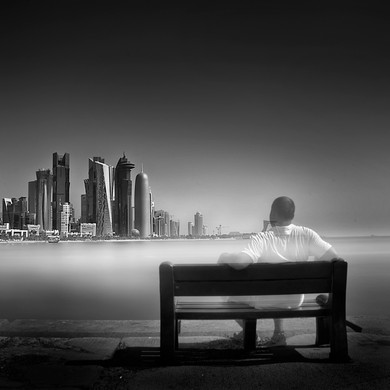 Self portrait in long exposure, Doha Qatar
