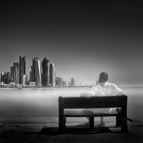Self portrait in long exposure, Doha Qatar