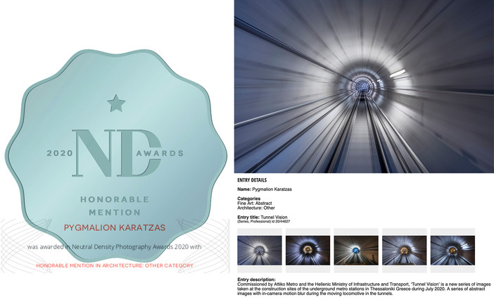 Honorable Mention for Tunnel Vision - Attiko Metro at the ND Awards 2020