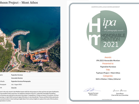 Honorable Mention at the International Photography Awards 2021