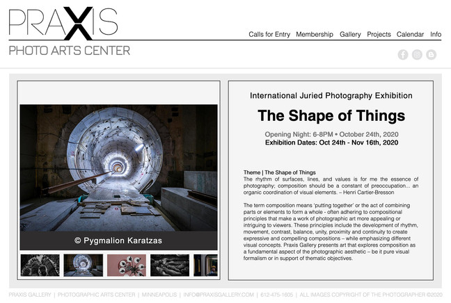 Selected photographer at Praxis Gallery international exhibition 'The Shape of Things'