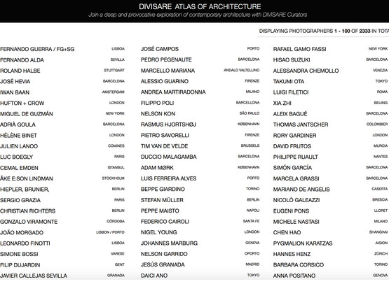 Top 100 architectural photographers on Divisare's Atlas of Architecture