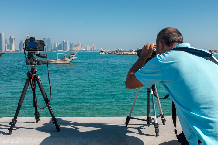 Photographing at Corniche Bay, Doha