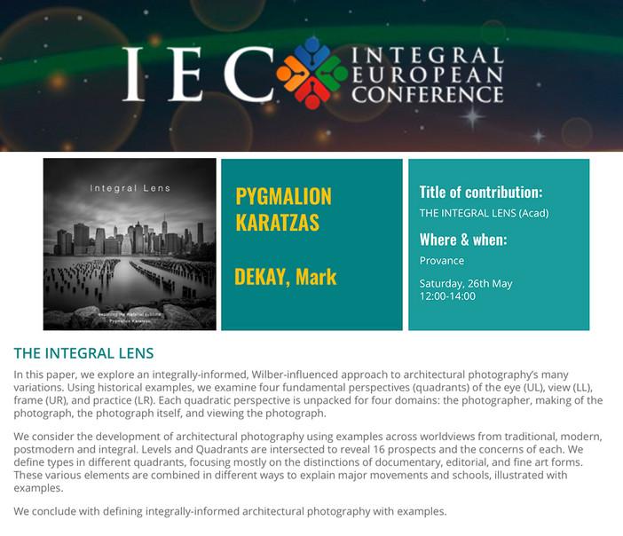 'Integral Lens' paper presented at the IEC 2018