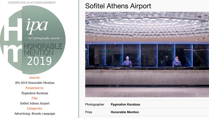 Sofitel Athens Airport received honorable mention at IPA 2019