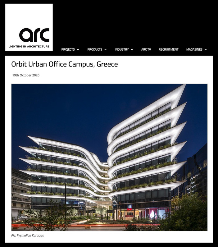 The Orbit Urban Office Campus featured on ARC Lighting in Architecture magazine, online edition
