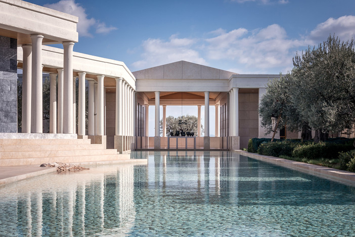 Amanzoe Hotel featured on Archisearch.gr