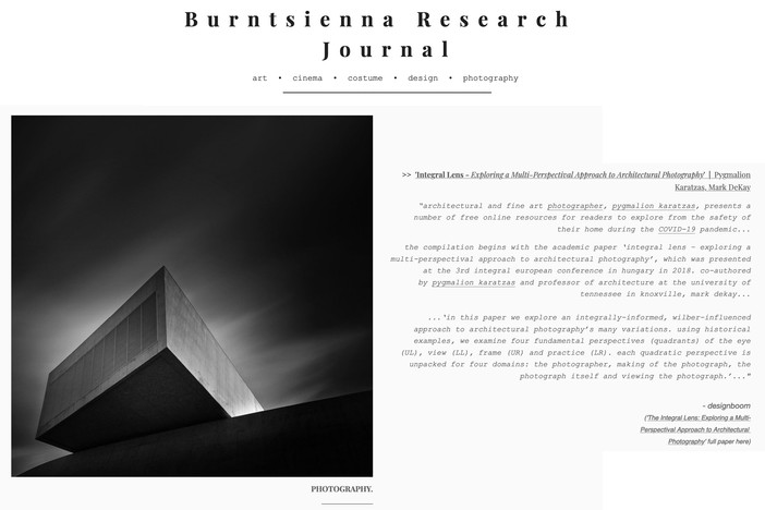 Integral Lens featured on Burntsienna Research Journal, October issue