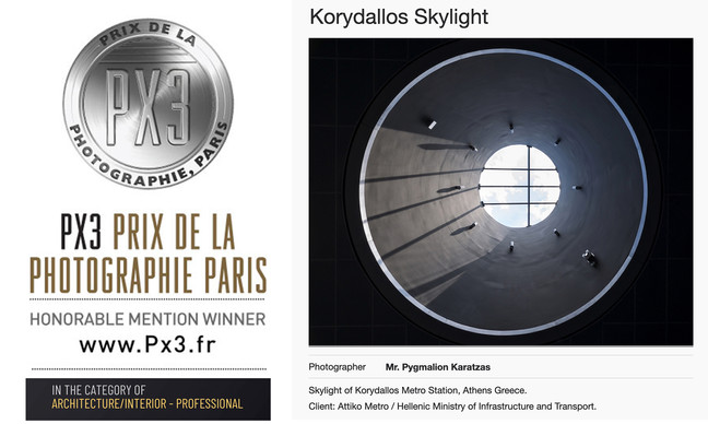 'Korydallos Skylight' receives an honorable mention at the PX3 Prix de la Photographie Paris 2020