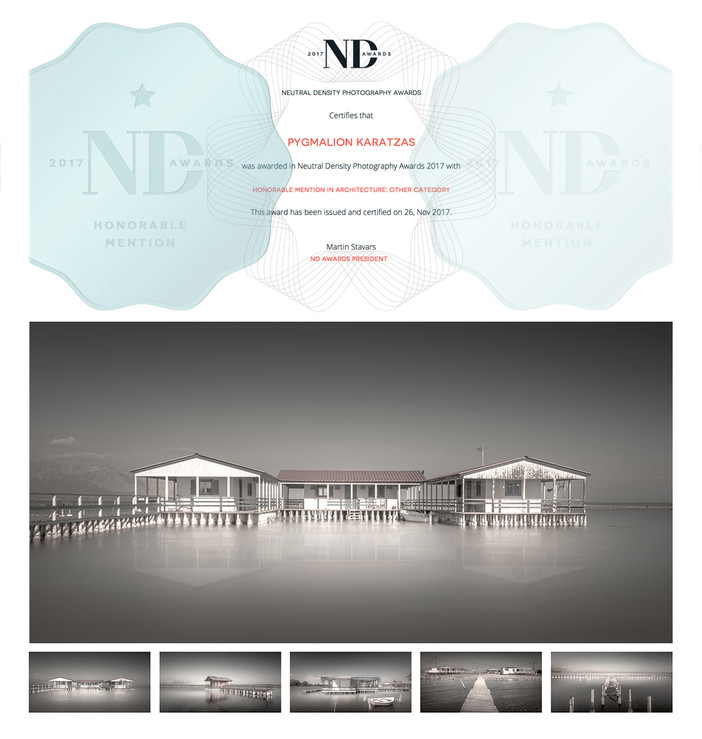 Honorable Mention at the ND Awards 2017 with series 'Mesolongi Lagoon'