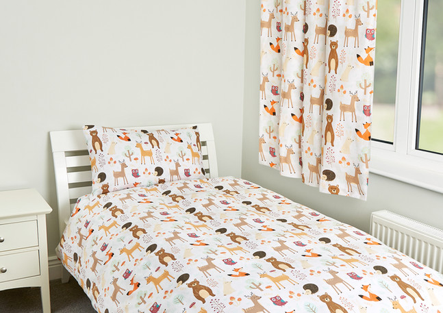 Forest animals single duvet set with cur