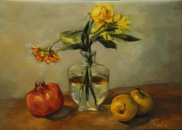 Nature mortes - Bouquet de fleurs et fru