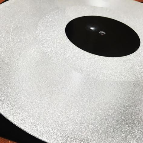 Glittery Silver Lathe Cut Record