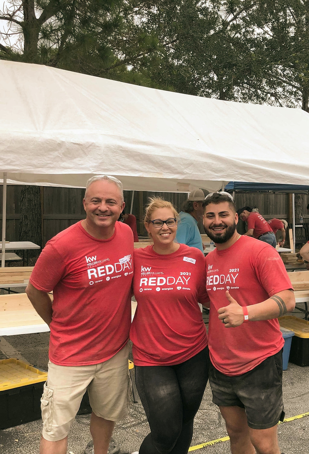 Friends Jim, Krista and Danny helping out at KW RED Day 2021!