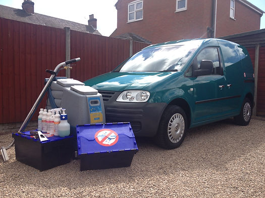 carpet cleaning equipment and van