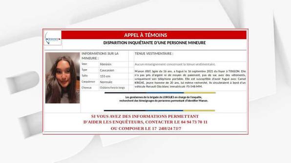 un appel à témoins lancé après la disparition de Manon, 16 ans, à Toulon