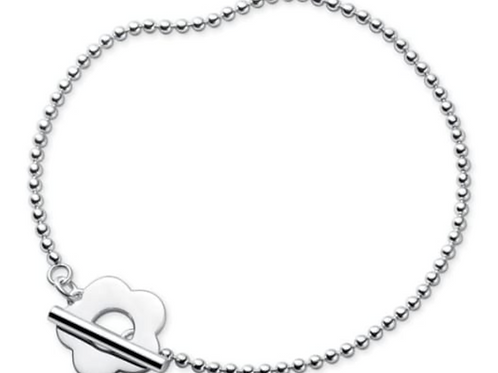 925 Sterling Silver Flower Beaded Bracelet