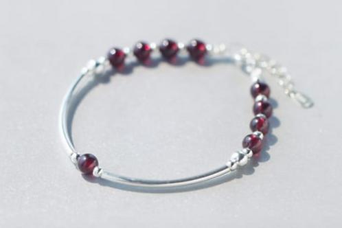 Sterling Silver and Red Garnet Beaded Bracelet