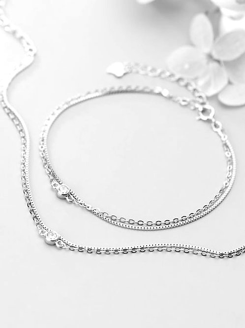 925 Sterling Silver Double Strand and with Rhinestone Bracelet