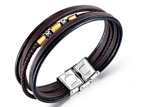 Titanium Leather Multi-Strand Bracelet in Brown