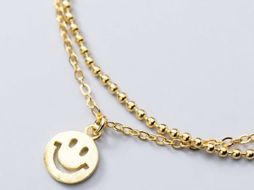 925 Sterling Silver Happy Face Bracelet