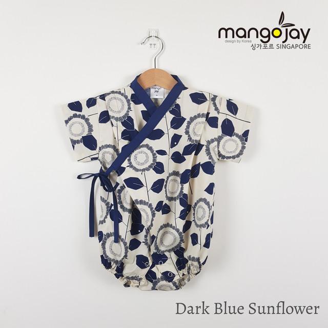 Dark Blue Sunflower Romper