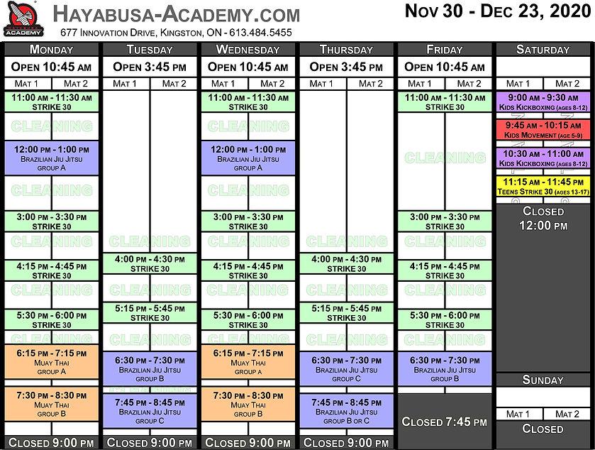 Status Yellow - Timetable - November to