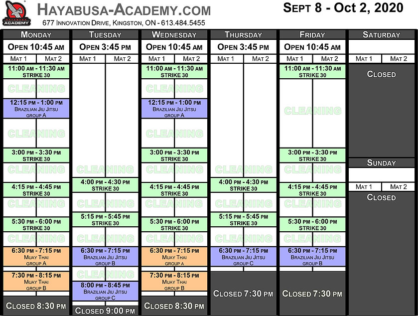 Stage 3 - Timetable - September to Octob