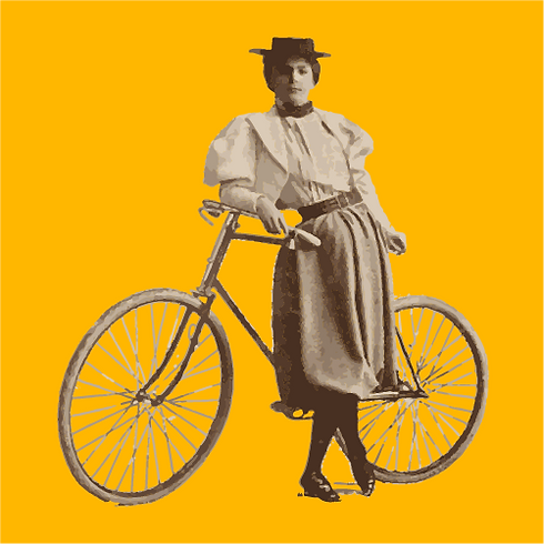 Annie Londenberry with a bicycle on a ye