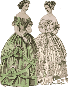 2. Women wearing big puffy skirts.png