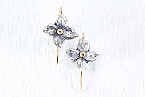 Silver FLORET dangly earrings