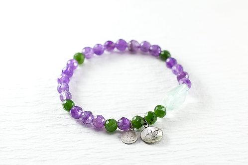 Amethyst/jade aqua burly TOKEN bracelet