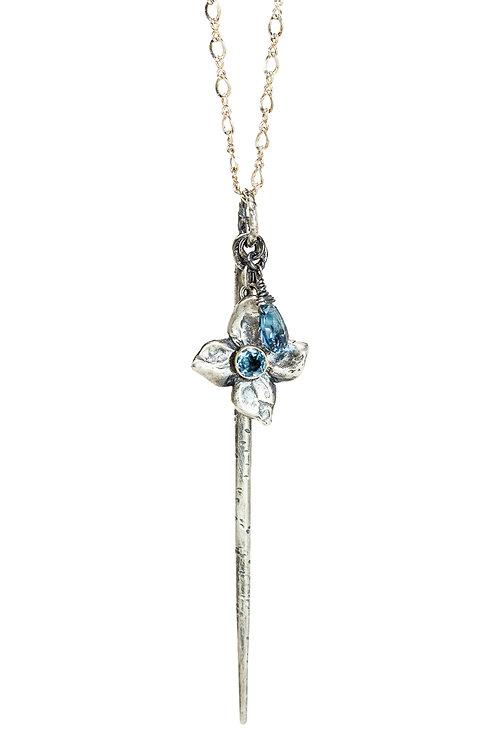 FLORET dagger layering necklace/blue topaz