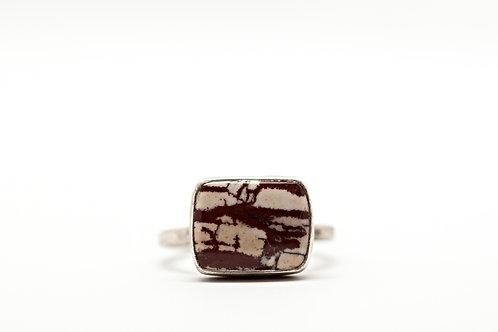 Silver RUSTIC horizontal jasper ring