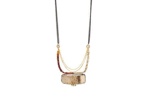 Statement boho WOODS pendant necklace