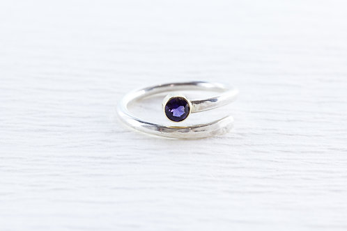 Bypass style SOLO silver i& gemstone ring