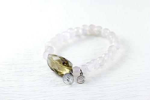 Chalcedony/smokey quartz burly TOKEN bracelet