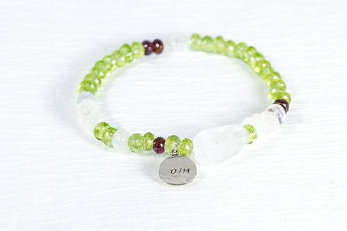 Peridot/aqua burly TOKEN bracelet