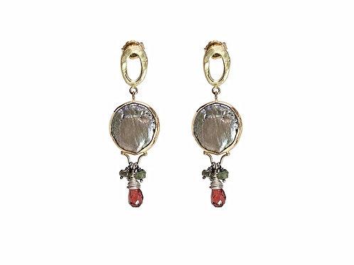 Blue OOID coin pearls dangly earrings