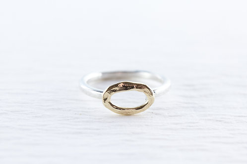 Silver & gold OOID stackable oval ring