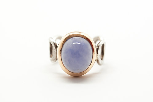 Cocktail SPHERITA gold & silver chalcedony ring