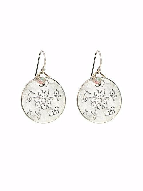 Silver MOMENTOS dangly disc earrings