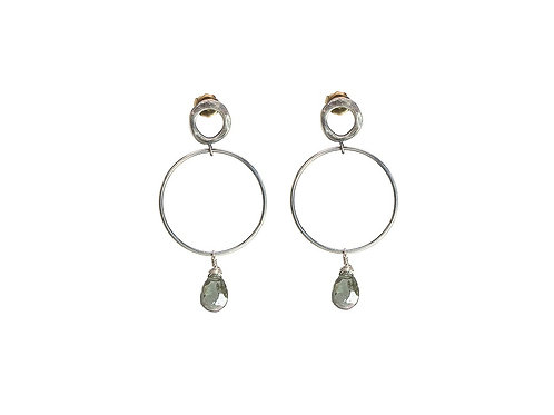 Silver BUBBLE medium hoop earrings